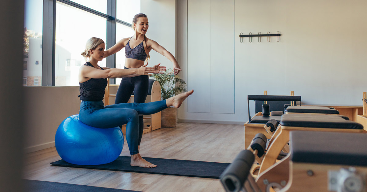 fit ball balance exercise best pilates classes rochedale