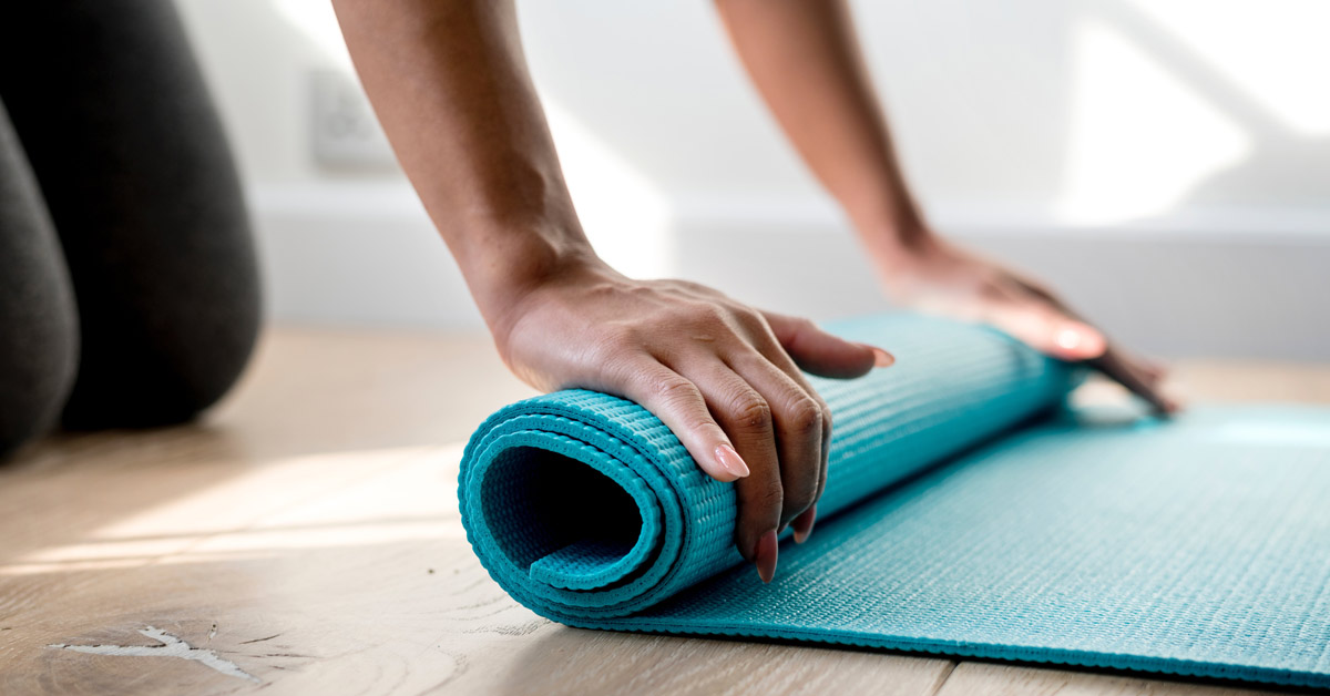 rolling up yoga mat Pilates classes rochedale BodyViva