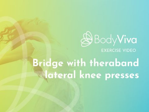 BodyViva exercise video Bridge with theraband lateral knee presses