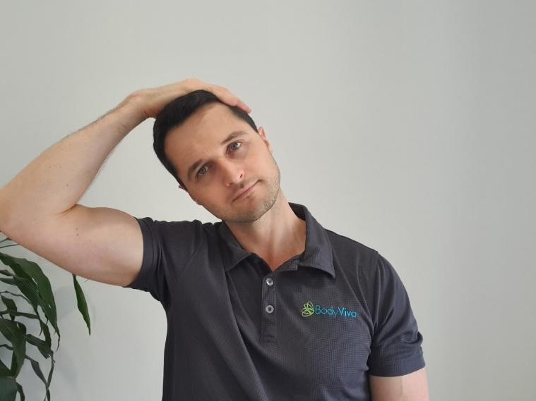 physiotherapy, neck side bend stretch